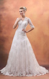 Half-Sleeve V-Neck Gown With Soft Tulle And Laces