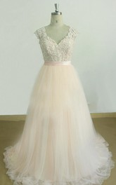 A-Line V-Neck Tulle Lace Satin Dress With Keyhole Back