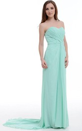 A-line Floor-length Sweetheart Chiffon&Satin Dress