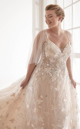 Lace Luxury Sexy V-neck Plus Size Wedding Dress With Illusion Tulle Sleeves And Chapel Train