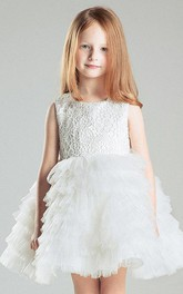 Ruffled Sleeveless Scoop Tulle&Lace Dress With Tiers