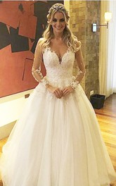 Illusion Deep V Neck Pearls Beaded Backless Sheer See Through Lace Wedding Dress