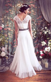 Bateau Cap Button Back Chiffon Wedding Dress With Sash And Pleats