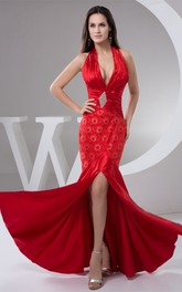 Plunged Body-Fitting Long Dress with Front Slit and Broach