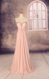 Sweetheart Chiffon Dress With Beading