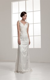 Deep-V-Neck Sheath Floor-Length Dress with Appliques and Ruching