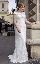 Illusion Back Cap Sleeve Elegant Lace Plus Size Wedding Dress With Ribbon And Brush Train
