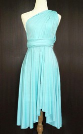 Sky Blue Bridesmaid Convertible Twist Wrap Wedding Prom Cocktail Dress