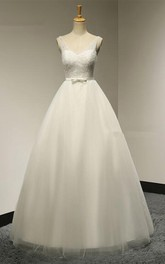 V-neck A-line Tulle Wedding Dress With Beaded Bodice