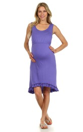 Sleeveless Scoop Neck Knee-length Cotton Maternity Dress