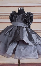 Ruffled Short Sleeve Layered Organza&Taffeta Dress