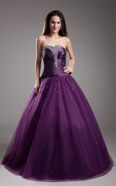 strapless a-line ball pleated gown with jeweled top