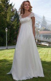 Cap Sleeve Appliqued Empire Scoop Neck Chiffon Wedding Dress