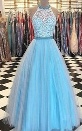 Blue Lace Halter A-line Long Evening Prom Dress