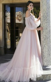 Off-shoulder Charming Sweetheart Tulle Wedding Dress With 3/4 Poet Sleeves
