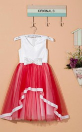 Sleeveless V-neck Tulle&Satin Dress With Bow&Flower