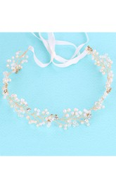 Handmade Japan And South Korea White Crystal Rosette Headdress Pearl Head Flower