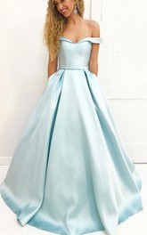 Simple Off Shoulder Satin A line Long Evening Prom Dress