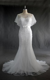 Jewel Neck Tulle Mermaid Wedding Dress With Beading