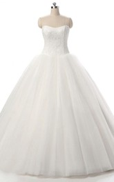 Ball Gown Tulle Lace Weddig Dress With Corset Back