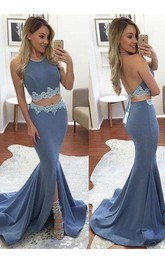 Sexy Two Pieces Mermaid Evening Long Backless Party Dress