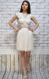 Short Backless Lace Dress With Sequins&Embroideries