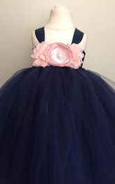 strapped Pleated Tulle Ball Gown With Beading&Flower