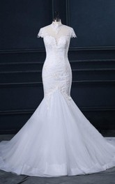 Trumpet High Neck Cap Sleeve Lace Organza Satin Dress With Appliques