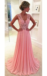 Beautiful Pink Sleeveless Lace Appliques Prom Dresses 2018 Long Chiffon