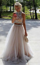 Two Piece High Neck Sleeveless Floor Length Prom Dresses