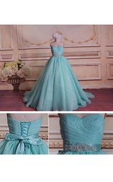 Ball Gown Strapped Sweetheart Lace Organza Satin Dress With Beading Corset Back
