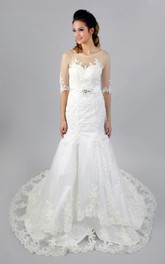 Sheer Top Half Sleeve Mermaid Wedding Dress With Beading and Appliques