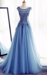 A-line Sleeveless Jewel Floor Length Applique Tulle Dress