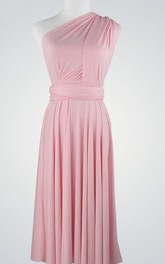 One-Shoulder Chiffon Knee-Length Dress With Pleats