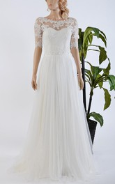 Tulle Satin Bowed Lace Bolero Wedding Dress