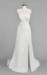 V-Neck Sleeveless Sheath Chiffon Wedding Dress With Ruching and Split Side