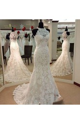 Vintage Illusion High Neck Sleeveless Full Lace Mermaid Wedding Dress