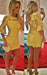 Sexy Short Yellow Cocktail Dress Lace Half Sleeve