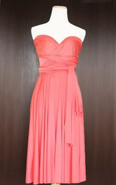 Short Coral Infinity Multiway Convertible Wrap Dress