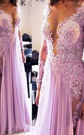 Sexy Lace Appliques Crystals 2018 Prom Dress V-neck Chiffon