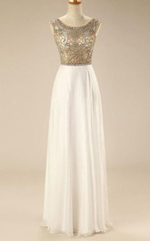 Floor-length Cap Sleeve Chiffon Dress