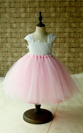 Cap Sleeve Pleated Ball Gown Knee-length Tulle&Lace Dress With Bow