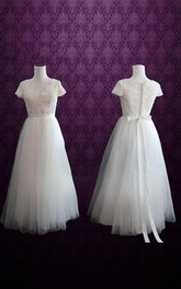 Cap Sleeve Lace And Tulle Weddig Dress With Ribbon And Bow