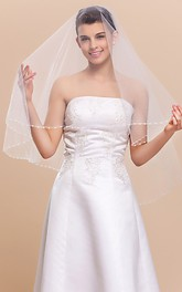 Stunning Mantilla Fingertip Wedding Veil With Pearl Trim Edge