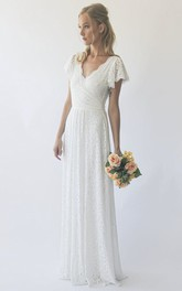Simple Sheath Short Sleeve V-neck Lace Wedding Dress in Floor-length With Ruching