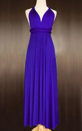 Maxi Royal Blue Bridesmaid Convertible Twist Wrap Prom Long Cocktail Dress