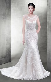 Delicate Scoop Neck Lace Wedding Dress With Illusion Back
