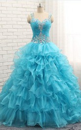 Beaded Organza Ball Gown With Ruffles And Crystals