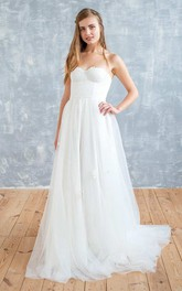 Sweetheart A-Line Tulle Chiffon Wedding Dress With Lace Top