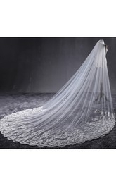 New Korean Style Romantic Lace Applique Long Trailing Inlaid Rhinestone Soft Tulle Veil